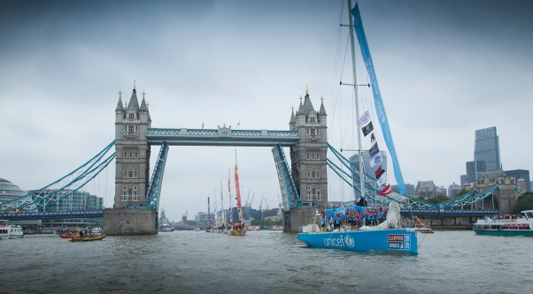 20150830 Copyright onEdition 2015© Free for editorial use image, please credit: onEdition The Clipper 15-16 Race start in London, St Katharine's Dock. Today the Clipper Round the World Yacht Race fleet, the world's largest of matched ocean racing yachts will begin its 40,000-mile circumnavigation from London. The twelve 70-foot yachts paraded down the River Thames from Tower Bridge. If you require a higher resolution image or you have any other onEdition photographic enquiries, please contact onEdition on 0845 900 2 900 or email info@onEdition.com This image is copyright the onEdition 2015©. This image has been supplied by onEdition and must be credited onEdition. The author is asserting his full Moral rights in relation to the publication of this image. Rights for onward transmission of any image or file is not granted or implied. Changing or deleting Copyright information is illegal as specified in the Copyright, Design and Patents Act 1988. If you are in any way unsure of your right to publish this image please contact onEdition on 0845 900 2 900 or email info@onEdition.com