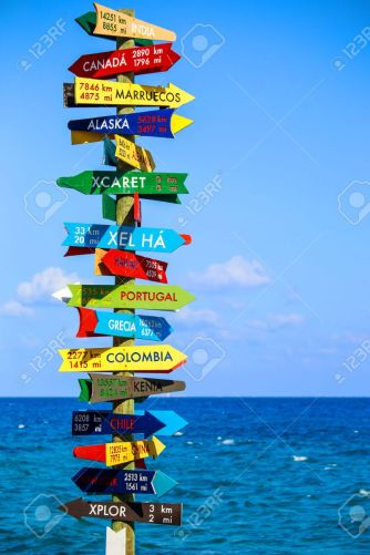 28033447-funny-direction-signpost-with-distance-to-many-different-countries-on-mexican-coastline